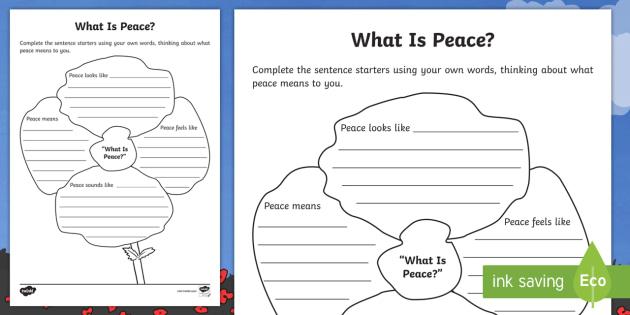 First World War Centenary What Is Peace? Writing Worksheet ...