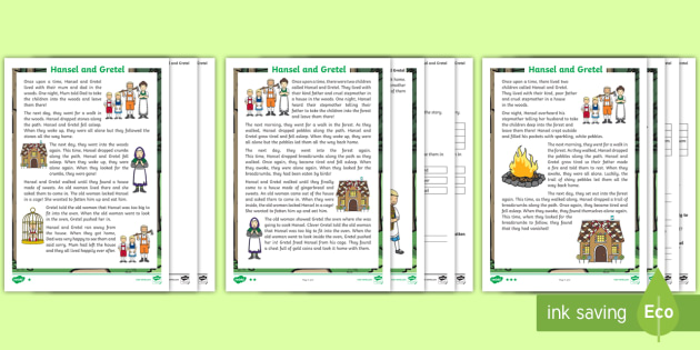 KS1 Hansel and Gretel Differentiated Reading Comprehension ...