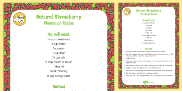 Natural Strawberry Playdough Recipe - natural dye, berry, strawberry, playdough