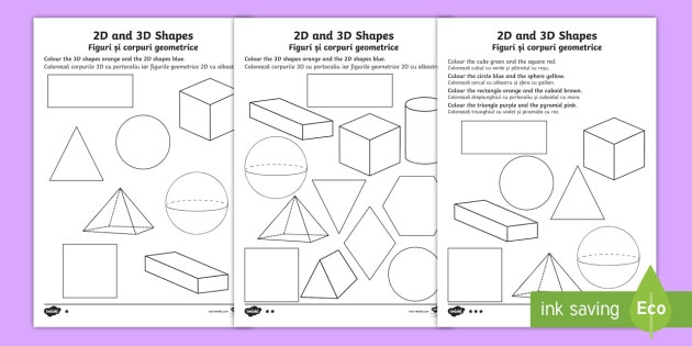 2D and 3D Shapes Colouring Pages English/Romanian - 3D, 2D, 3D