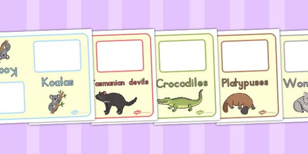 Australian Animal Group Table Signs - australia, group, table
