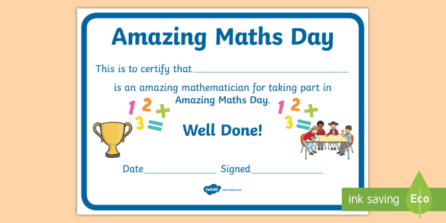World Maths Day Certificate - National Events, Numeracy