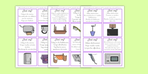 Juego de tarjetas de adivinar ¿Qué objeto doméstico soy?