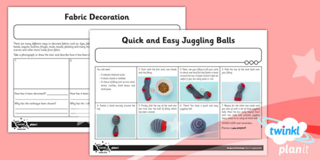D&T: Juggling Balls: LKS2 Unit Home Learning Tasks
