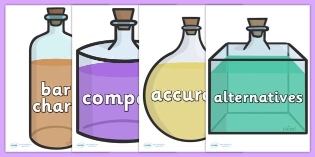 Scientific Vocabulary On Beakers - scientific vocabulary on beakers, beakers, science, scientific, vocabulary, accurate, alternatives, apparatus, bar, sciences