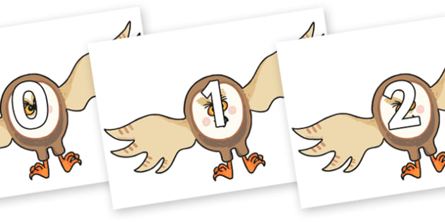 Numbers 0-31 on Hullabaloo Owl to Support Teaching on Farmyard Hullabaloo - 0-31, foundation stage numeracy, Number recognition, Number flashcards, counting, number frieze, Display numbers, number posters