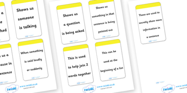 Punctuation Pyramid Explanation Flashcards - VCOP, V.C.O.P., card, flashcards, explanation, explaining, vocabulary, connectives, openers, punctuation, banner, sign, writing aid, writing aids