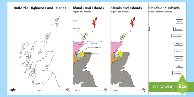 Highlands and Islands Jigsaw Map - Requests CfE, Highlands and Islands, maps, Scotland,Scottish