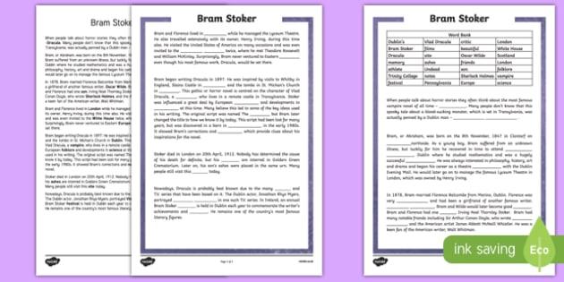 Bram Stoker 5th and 6th Class Cloze  Activity Sheet-Irish, worksheet