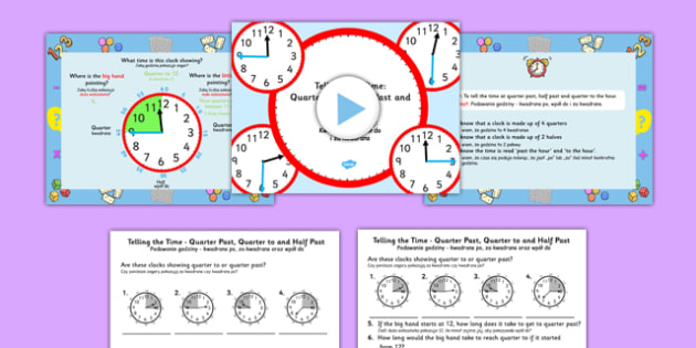 Telling the Time Quarter Past, Half Past, Quarter to Task Setter PowerPoint and Worksheet / Activity Sheets Polish Translation - polish, telling the time, minutes, task setter, powerpoint, worksheets