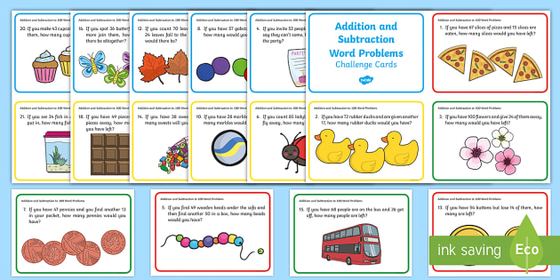 T N 2604 Addition And Subtraction To 100 Word Problem Challenge Cards on The Times Tables Pack