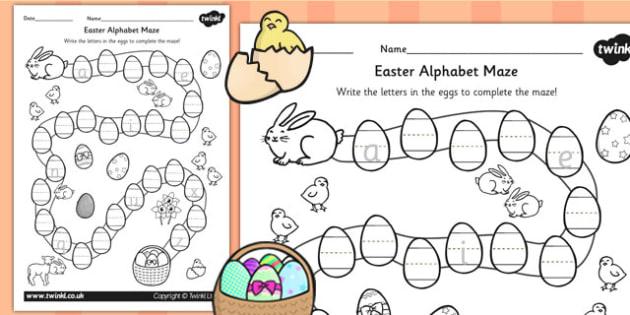 Alphabet Maze Worksheet - a-z, alphabet, a-z maze, maze, game
