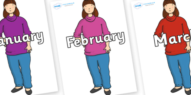 Months of the Year on Harry's Mum to Support Teaching on Harry and the Bucketful of Dinosaurs - Months of the Year, Months poster, Months display, display, poster, frieze, Months, month, January, February, March, April, May, June, July, August, Septe