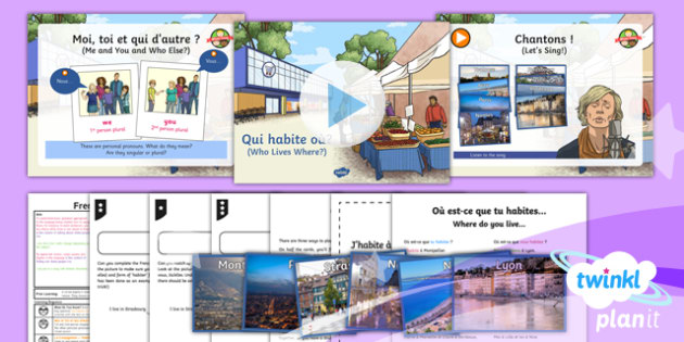 French: Let's Visit a French Town: Who Lives Where Year 6 Lesson Pack 1