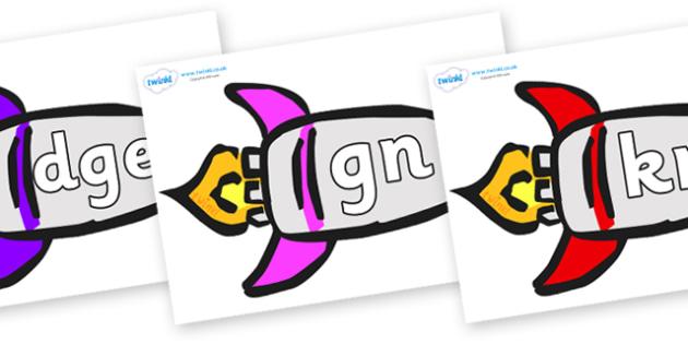 Silent Letters on Rockets (Multicolour) - Silent Letters, silent letter, letter blend, consonant, consonants, digraph, trigraph, A-Z letters, literacy, alphabet, letters, alternative sounds