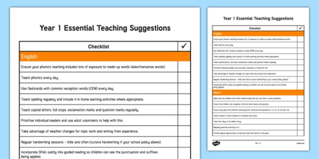 Year 1 Essential Teaching Suggestions Checklist