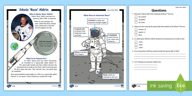 KS1 Edwin 'Buzz' Aldrin Differentiated Reading Comprehension