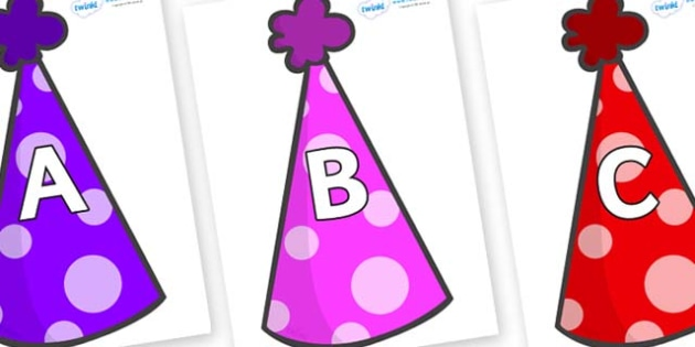 A-Z Alphabet on Party Hats - A-Z, A4, display, Alphabet frieze, Display letters, Letter posters, A-Z letters, Alphabet flashcards
