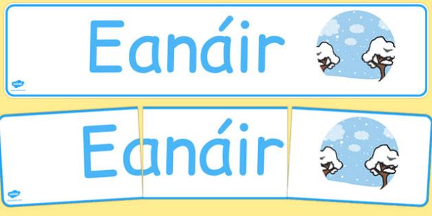 Eanáir Display Banner Gaeilge - gaeilge, january, display banner, display, banner, months of the year