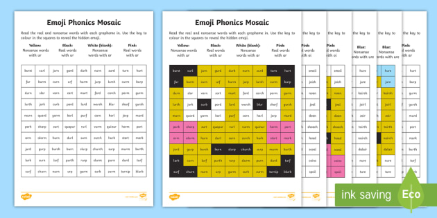 Emojis Phase 3 Phonics Mosaic Worksheets - emoticon, smiley