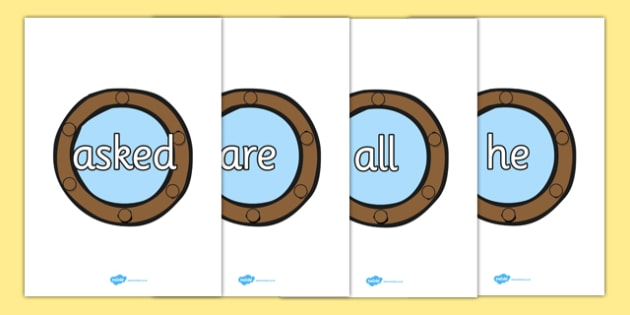 Tricky Words on Portholes - Tricky words, DfES Letters and Sounds, Letters and sounds, display, words