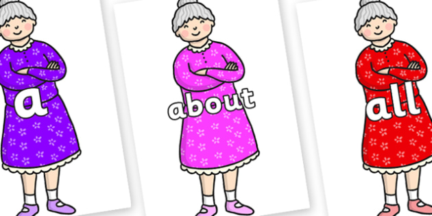 100 High Frequency Words on Enormous Turnip Old Woman - High frequency words, hfw, DfES Letters and Sounds, Letters and Sounds, display words