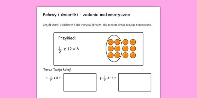 Arkusz Połówki i ćwiartki Ułamki po polsku - matematyka