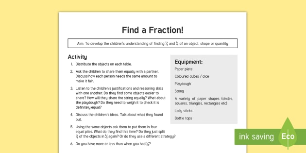 Find a Fraction Teaching Ideas - Year 1, Maths Mastery, Fractions, part of, whole, half, 1/2, 1/4, quarter, share, divide, division,