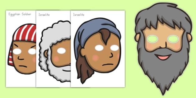 Moses Role Play Masks - usa, america, Moses, Egypt, Hebrews, slaves, Pharaoh, basket, God, role play mask, role play, masks, palace, shepherd, burning bush, plague, Promised Land, law, stone, ten commandments, bible, bible story