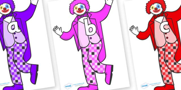 Phase 2 Phonemes on Clowns - Phonemes, phoneme, Phase 2, Phase two, Foundation, Literacy, Letters and Sounds, DfES, display