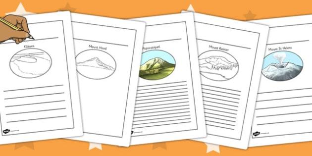Volcanoes Writing Frames - volcanoes, writing frames, writing