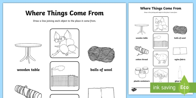 Where Things Come From Worksheet - materials, where materials come from, what materials are made of, how we use materials, changing materials, ks2 science
