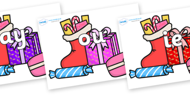 Phase 5 Phonemes on Christmas Gifts - Phonemes, phoneme, Phase 5, Phase five, Foundation, Literacy, Letters and Sounds, DfES, display