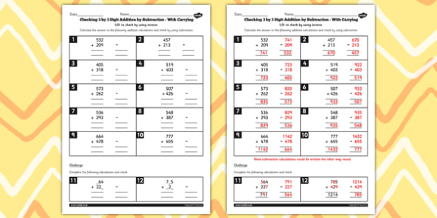 Y3 Inverse Check 3 Digit 3 Addition Subtraction with Carry Sheet