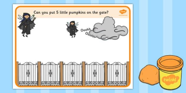 5 Little Pumpkins Playdough Mat - 5 little pumpkins, playdough, mat