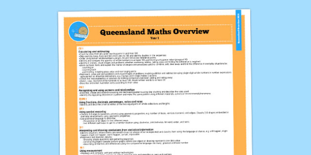 Queensland Curriculum Year 1 Maths Numeracy Syllabus Overview - australia