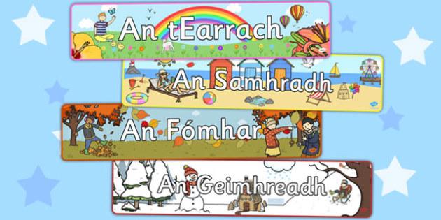 Four Seasons Irish Display Banner Pack -four seasons, irish, display banner, Gaeilge