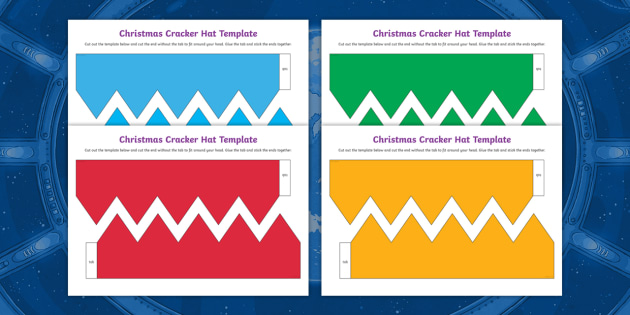 Christmas Cracker Template.Christmas Cracker Hat Template Cut Outs Year 3 Y3 Year 4