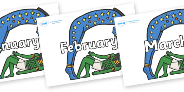 Months of the Year on Egyptian Characters - Months of the Year, Months poster, Months display, display, poster, frieze, Months, month, January, February, March, April, May, June, July, August, September