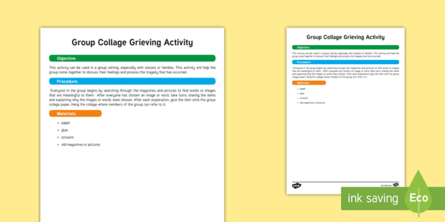 Group Collage Grieving Activity - Grieving Through Tragedy, feelings, group activity, discussing feelings, sharing feelings, thoughts,