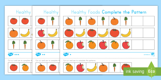 healthy foods differentiated complete the pattern worksheet activity sheets healthy foods healthy eating