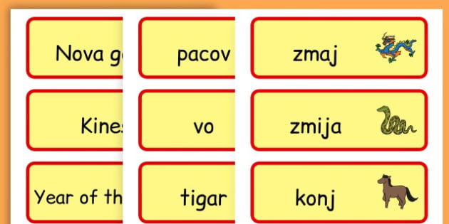 Chinese New Year Topic Word Cards - chinese new year, word cards - Bosnian