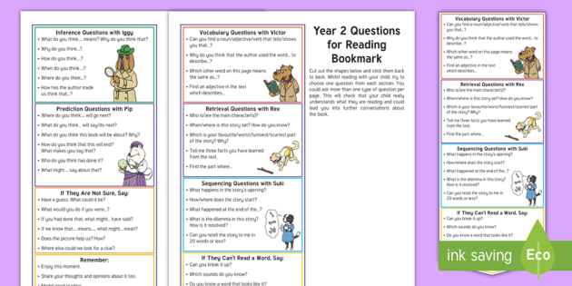 Year 2 Questions For Reading Bookmark Question Cards Y2