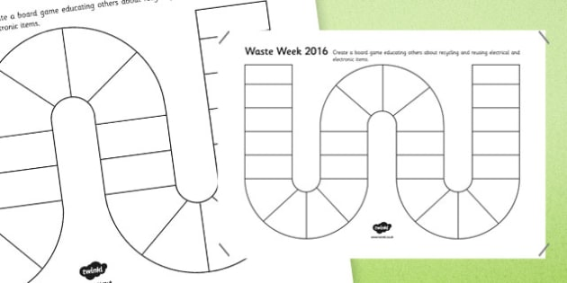 Waste Week 2016 Design a Board Game Activity - Waste Week, Eco-schools, WEEE, waste electrical and electronic equipment, technology, recycle, reuse, board game