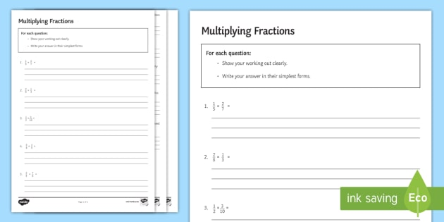 Multiplying Fractions Worksheet  Activity Sheet  Simplify
