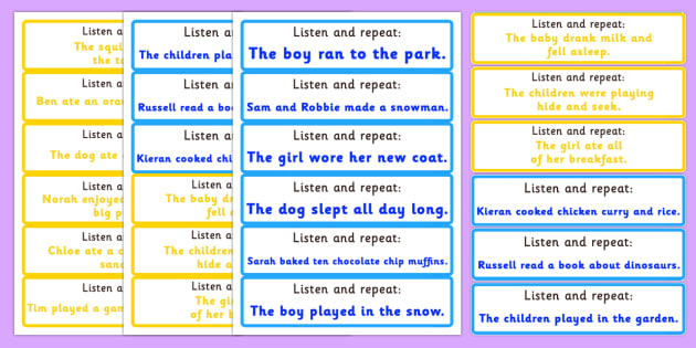 Listen and Repeat 6 and 7 Word Sentence Cards - Twinkl