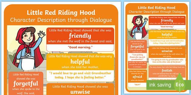 Ks1 Character Description Through Dialogue Poster Little Red