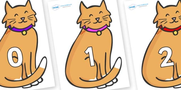 Numbers 0-50 on Pussy Cats - 0-50, foundation stage numeracy, Number recognition, Number flashcards, counting, number frieze, Display numbers, number posters