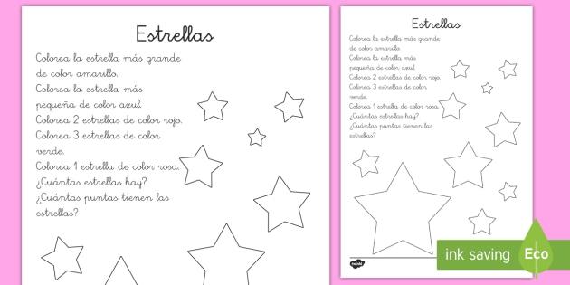 Ficha De Actividad Comprensión Lectora Colorear Estrellas