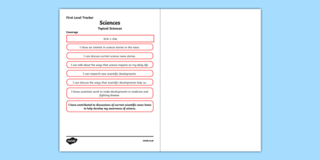 CfE Sciences (Topical Science) First Level Child Friendly Tracking-Scottish